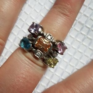 Chunky Multi Gem Stone Sterling SILVER Ring Set